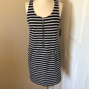 Michael Kors Striped White & Navy Dress Size L